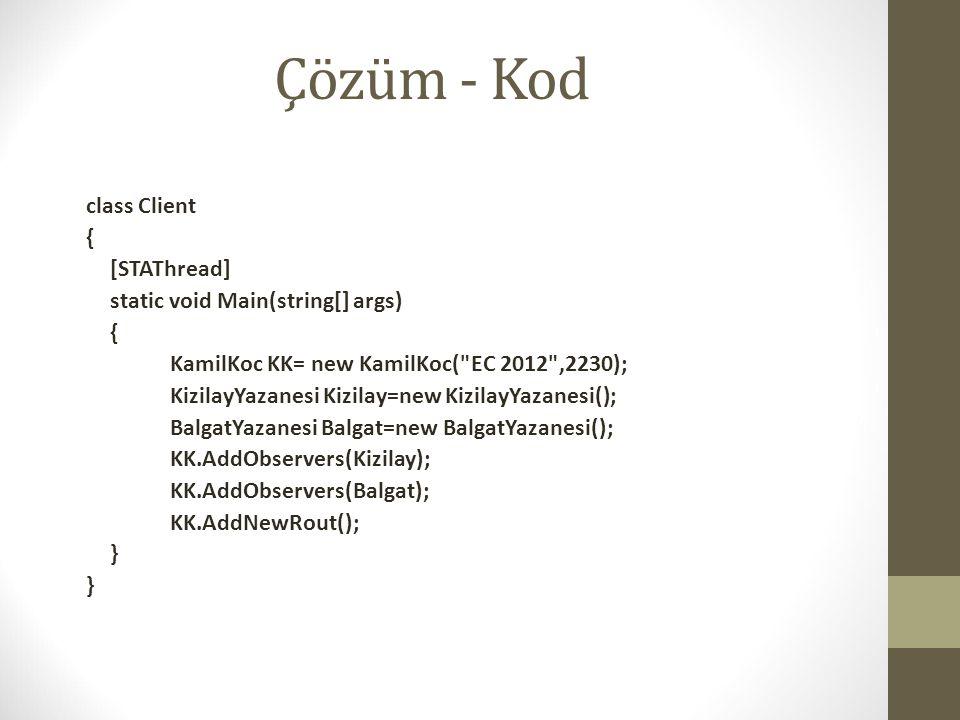 Çözüm - Kod class Client { [STAThread] static void Main(string[] args) { KamilKoc KK= new KamilKoc(