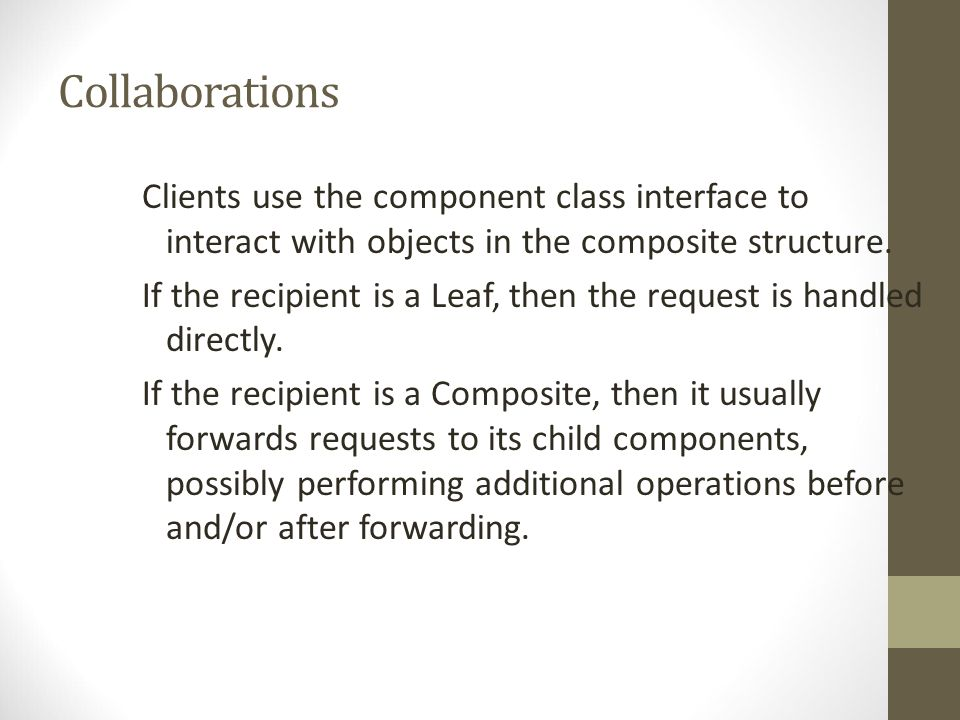Collaborations Clients use the component class interface to interact with objects in the composite structure.