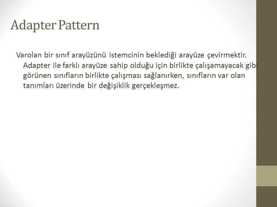 Adapter Pattern Varolan bir sınıf arayüzünü istemcinin beklediği arayüze çevirmektir. Adapter ile farklı arayüze sahip olduğu için birlikte çalışamaya