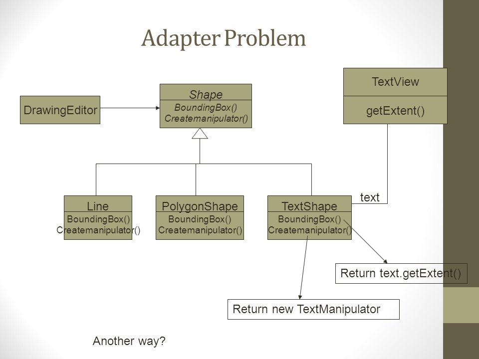 Adapter Problem TextView getExtent() Shape BoundingBox() Createmanipulator() Line BoundingBox() Createmanipulator() PolygonShape BoundingBox() Createm