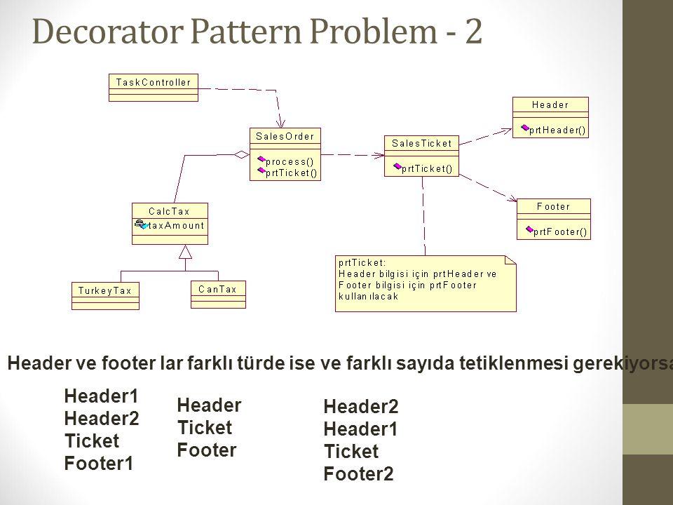 Decorator Pattern Problem - 2 Header ve footer lar farklı türde ise ve farklı sayıda tetiklenmesi gerekiyorsa : Header1 Header2 Ticket Footer1 Header