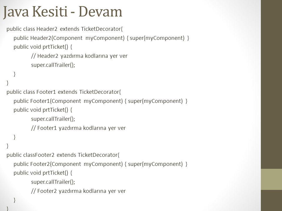 Java Kesiti - Devam public class Header2 extends TicketDecorator{ public Header2(Component myComponent) { super(myComponent) } public void prtTicket()