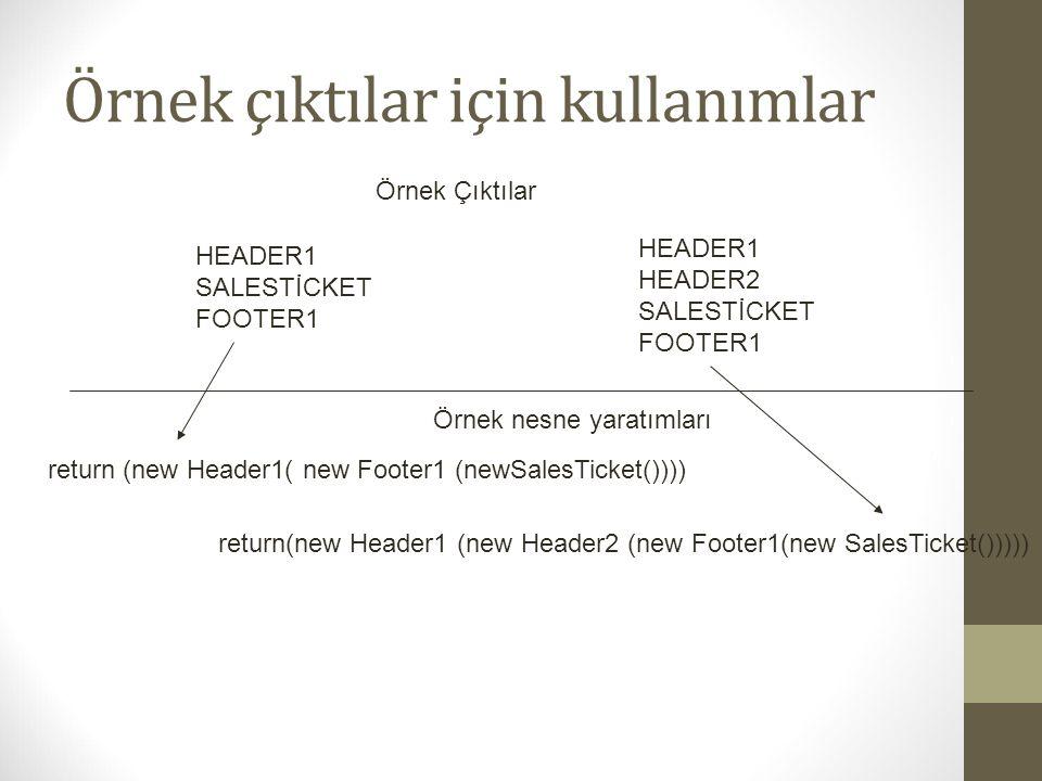 Örnek çıktılar için kullanımlar HEADER1 SALESTİCKET FOOTER1 HEADER1 HEADER2 SALESTİCKET FOOTER1 Örnek Çıktılar Örnek nesne yaratımları return (new Hea