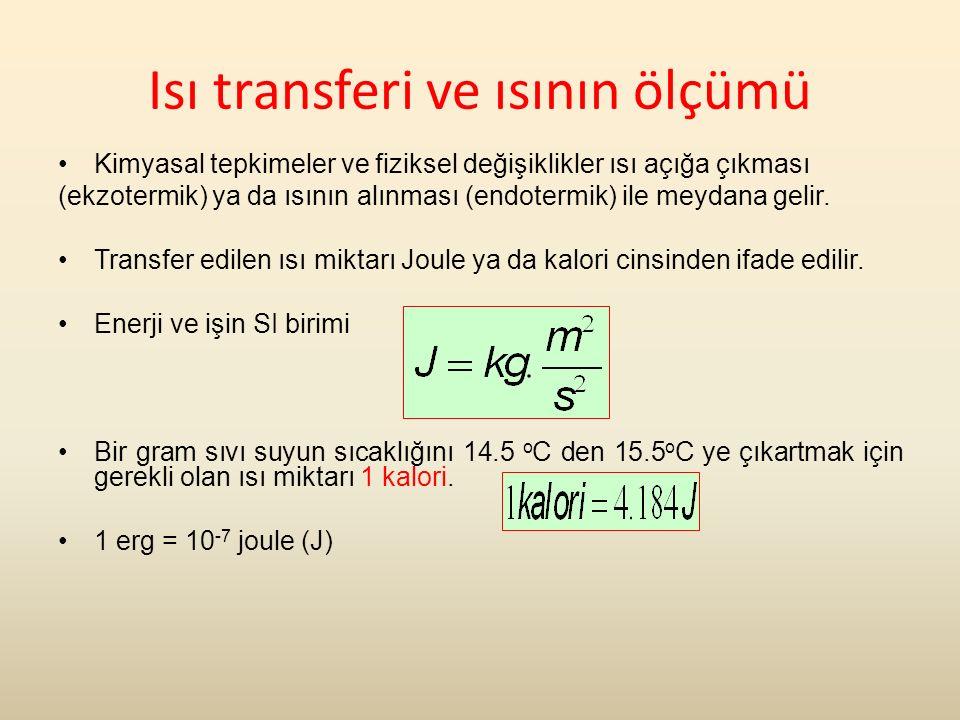 Isı transferi ve ısının ölçümü Kimyasal tepkimeler ve fiziksel değişiklikler ısı açığa çıkması (ekzotermik) ya da ısının alınması (endotermik) ile meydana gelir.