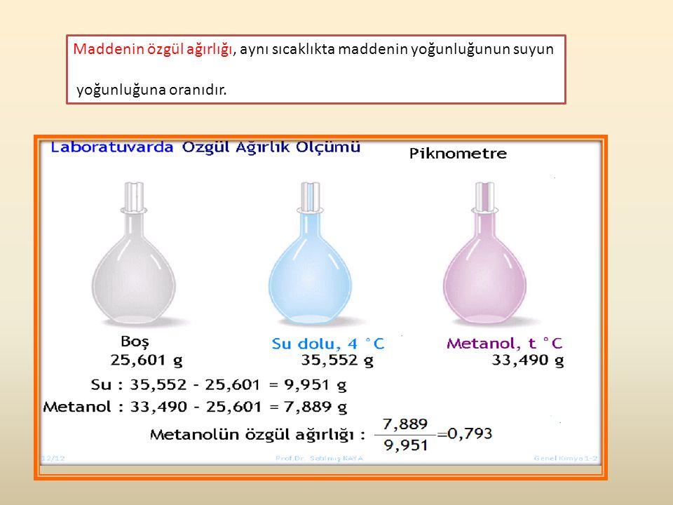 Maddenin özgül ağırlığı, aynı sıcaklıkta maddenin yoğunluğunun suyun yoğunluğuna oranıdır.