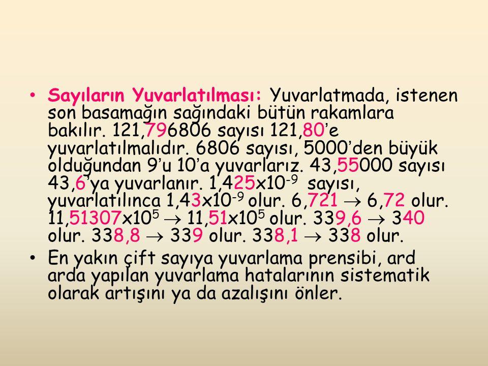 Sayıların Yuvarlatılması: Yuvarlatmada, istenen son basamağın sağındaki bütün rakamlara bakılır.