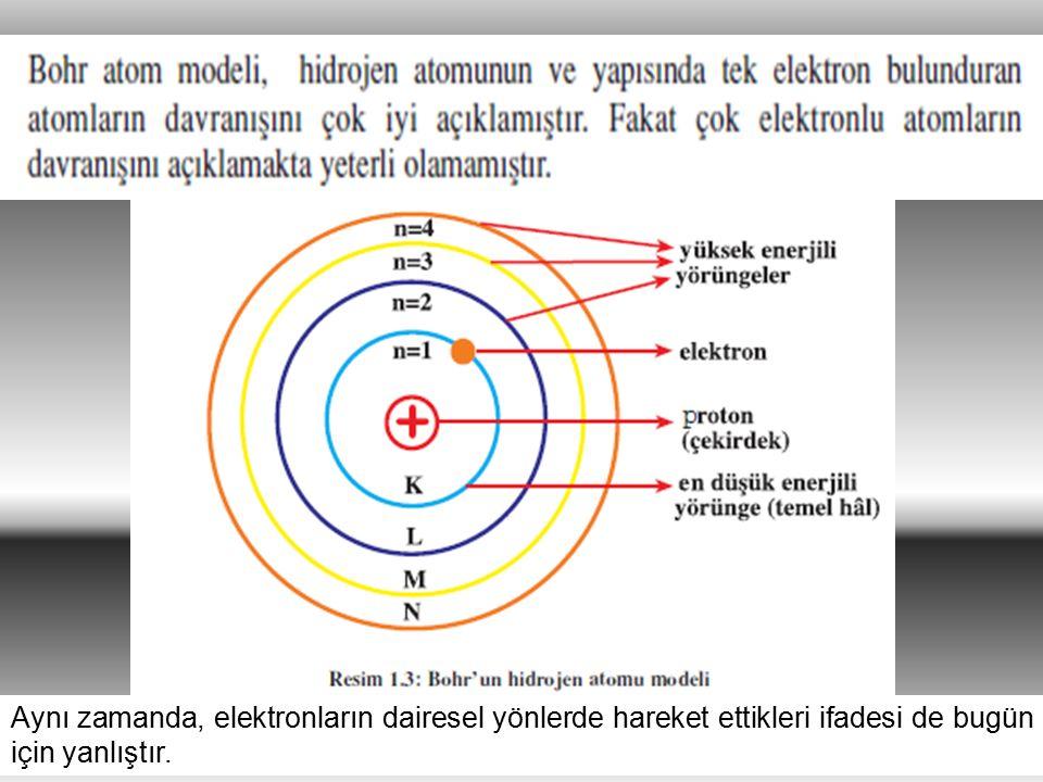 28 Aynı zamanda, elektronların dairesel yönlerde hareket ettikleri ifadesi de bugün için yanlıştır.
