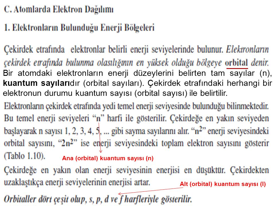 50 Bir atomdaki elektronların enerji düzeylerini belirten tam sayılar (n), kuantum sayılarıdır (orbital sayıları). Çekirdek etrafındaki herhangi bir e