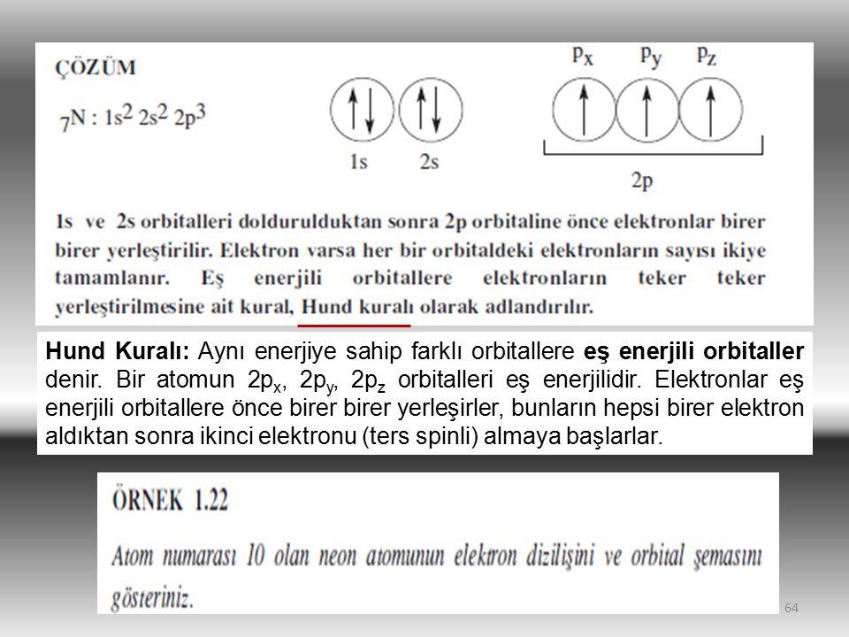 64 Hund Kuralı: Aynı enerjiye sahip farklı orbitallere eş enerjili orbitaller denir. Bir atomun 2p x, 2p y, 2p z orbitalleri eş enerjilidir. Elektronl