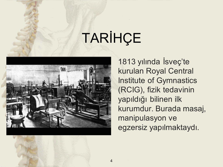 TARİHÇE 1813 yılında İsveç'te kurulan Royal Central Institute of Gymnastics (RCIG), fizik tedavinin yapıldığı bilinen ilk kurumdur. Burada masaj, mani