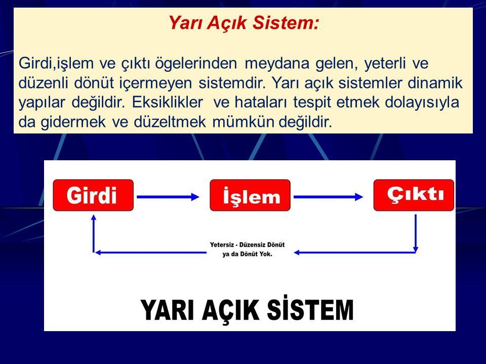 Yarı Açık Sistem: Girdi,işlem ve çıktı ögelerinden meydana gelen, yeterli ve düzenli dönüt içermeyen sistemdir.