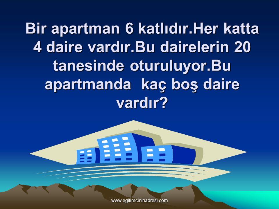Bir apartman 6 katlıdır.Her katta 4 daire vardır.Bu dairelerin 20 tanesinde oturuluyor.Bu apartmanda kaç boş daire vardır? www.egitimcininadresi.com