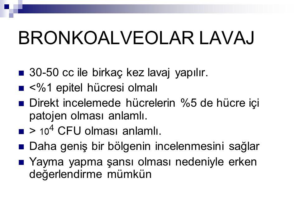 BRONKOALVEOLAR LAVAJ 30-50 cc ile birkaç kez lavaj yapılır.