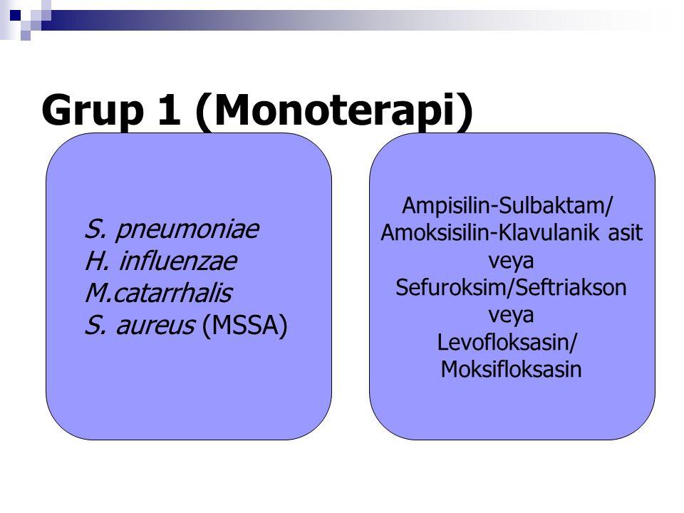 Grup 1 (Monoterapi) Ampisilin-Sulbaktam/ Amoksisilin-Klavulanik asit veya Sefuroksim/Seftriakson veya Levofloksasin/ Moksifloksasin S.
