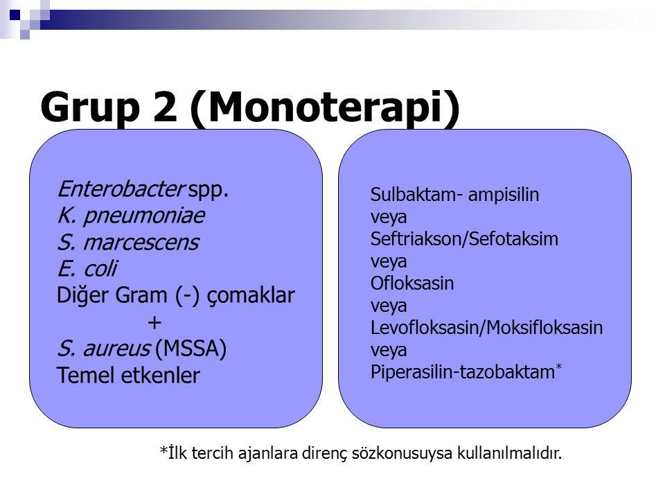 Grup 2 (Monoterapi) Sulbaktam- ampisilin veya Seftriakson/Sefotaksim veya Ofloksasin veya Levofloksasin/Moksifloksasin veya Piperasilin-tazobaktam * *İlk tercih ajanlara direnç sözkonusuysa kullanılmalıdır.