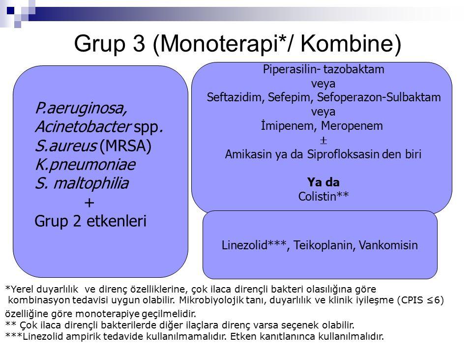 Grup 3 (Monoterapi*/ Kombine) Piperasilin- tazobaktam veya Seftazidim, Sefepim, Sefoperazon-Sulbaktam veya İmipenem, Meropenem  Amikasin ya da Siprofloksasin den biri Ya da Colistin** Linezolid***, Teikoplanin, Vankomisin *Yerel duyarlılık ve direnç özelliklerine, çok ilaca dirençli bakteri olasılığına göre kombinasyon tedavisi uygun olabilir.