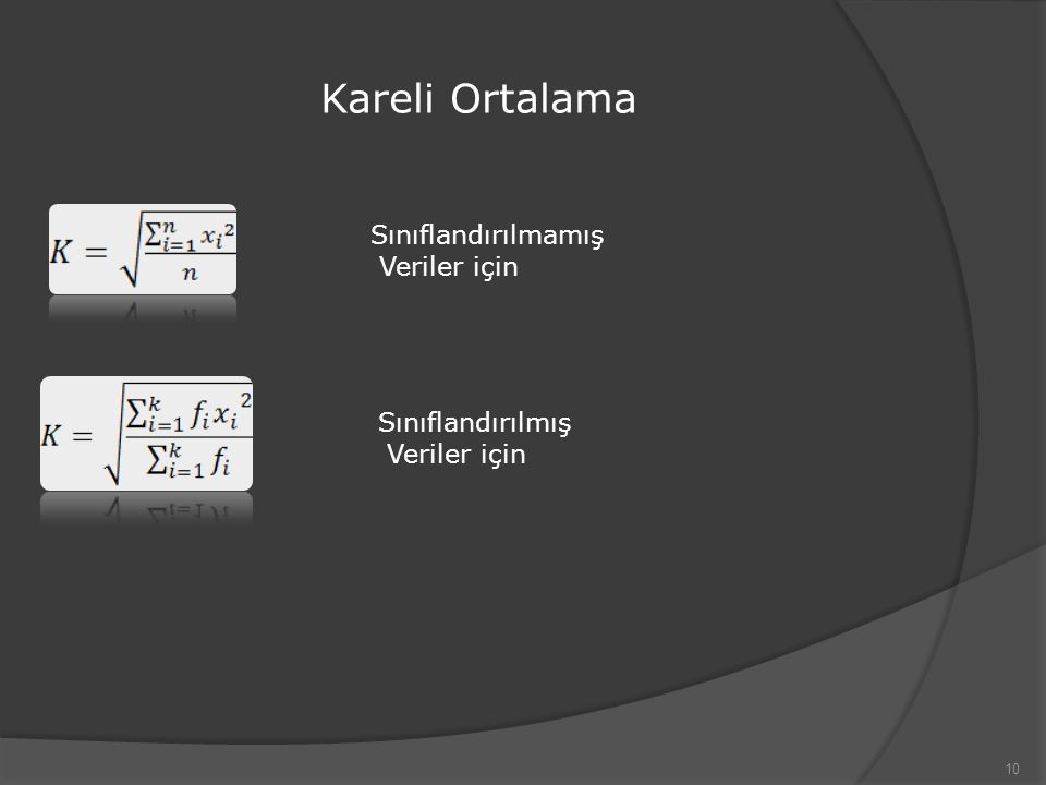 Kareli Ortalama 10 Sınıflandırılmamış Veriler için Sınıflandırılmış Veriler için