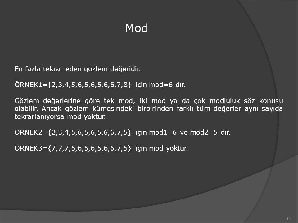 Mod 14 En fazla tekrar eden gözlem değeridir. ÖRNEK1={2,3,4,5,6,5,6,5,6,6,7,8} için mod=6 dır. Gözlem değerlerine göre tek mod, iki mod ya da çok modl