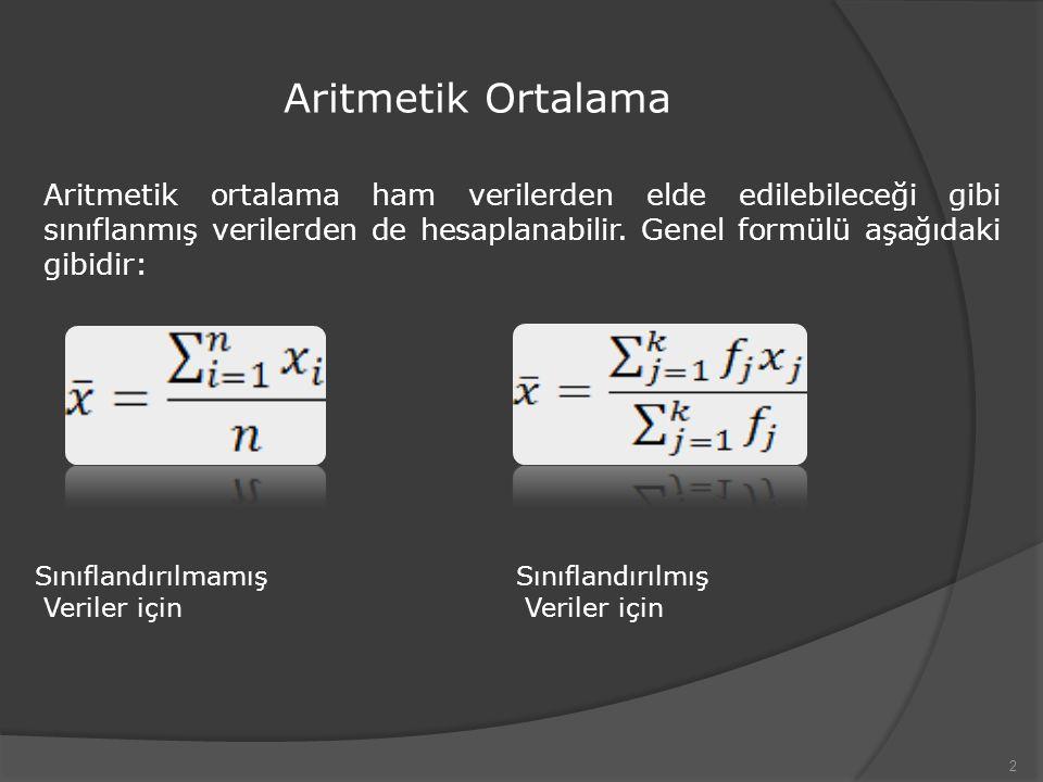 Aritmetik Ortalama 2 Aritmetik ortalama ham verilerden elde edilebileceği gibi sınıflanmış verilerden de hesaplanabilir. Genel formülü aşağıdaki gibid