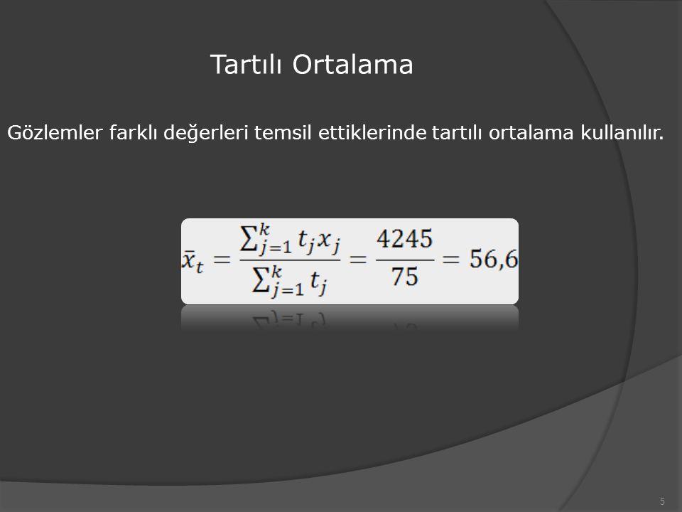 Tartılı Ortalama 5 Gözlemler farklı değerleri temsil ettiklerinde tartılı ortalama kullanılır.