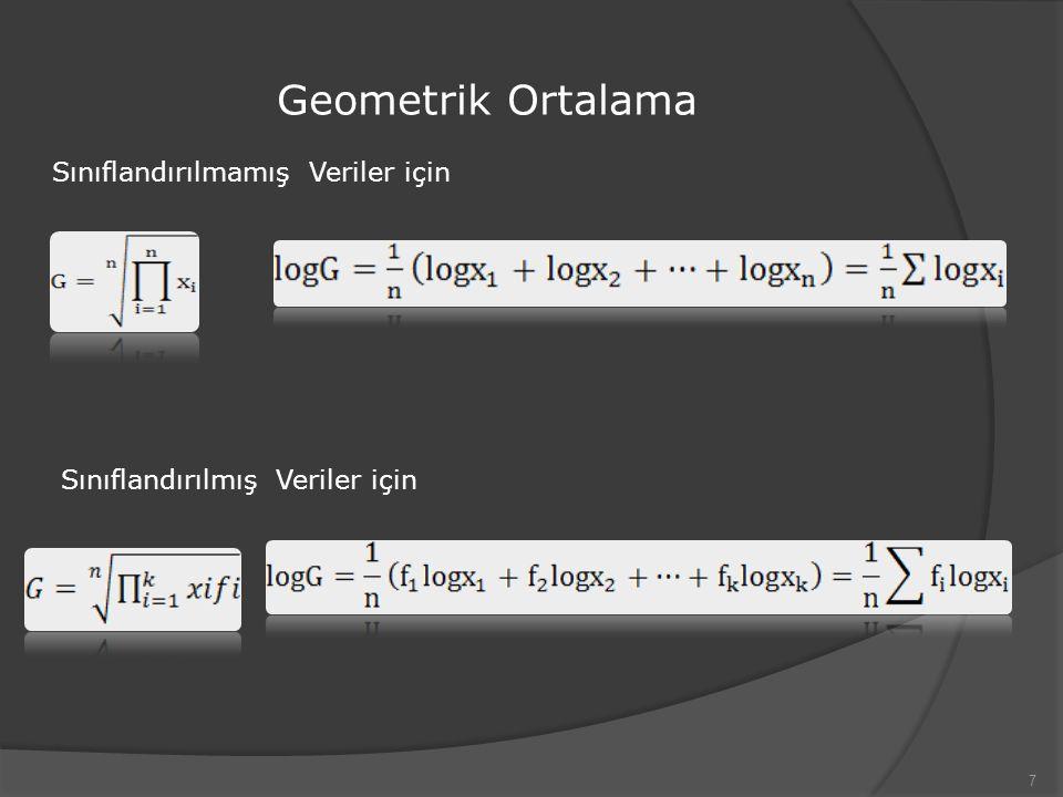 Geometrik Ortalama 7 Sınıflandırılmamış Veriler için Sınıflandırılmış Veriler için