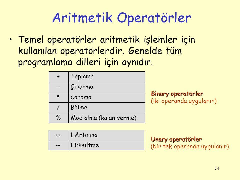 14 Aritmetik Operatörler Temel operatörler aritmetik işlemler için kullanılan operatörlerdir.