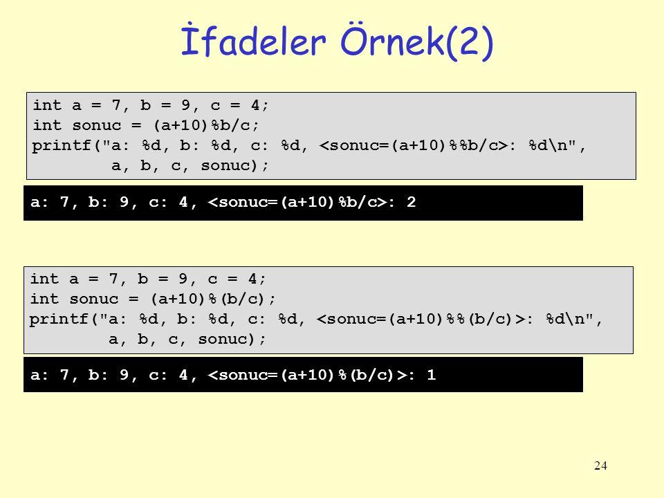 24 İfadeler Örnek(2) int a = 7, b = 9, c = 4; int sonuc = (a+10)%b/c; printf( a: %d, b: %d, c: %d, : %d\n , a, b, c, sonuc); int a = 7, b = 9, c = 4; int sonuc = (a+10)%(b/c); printf( a: %d, b: %d, c: %d, : %d\n , a, b, c, sonuc); a: 7, b: 9, c: 4, : 2 a: 7, b: 9, c: 4, : 1