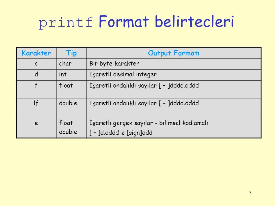 5 printf Format belirtecleri KarakterTipOutput Formatı ccharBir byte karakter dintİşaretli desimal integer ffloatİşaretli ondalıklı sayılar [ – ]dddd.dddd lfdoubleİşaretli ondalıklı sayılar [ – ]dddd.dddd efloat double İşaretli gerçek sayılar - bilimsel kodlamalı [ – ]d.dddd e [sign]ddd
