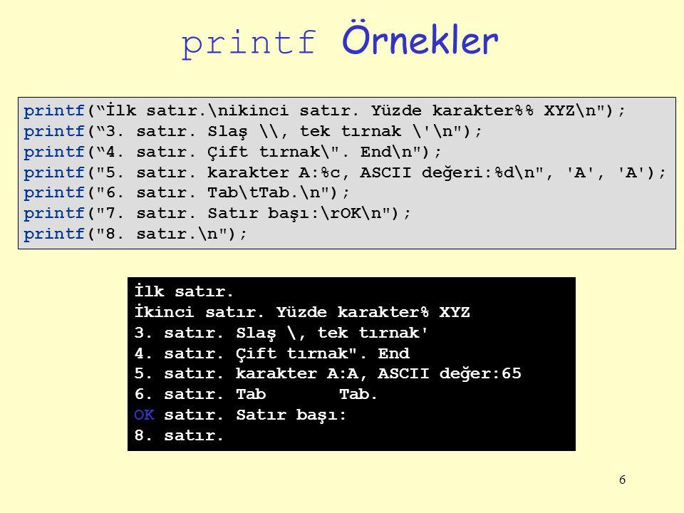 6 printf Örnekler printf( İlk satır.\nikinci satır.