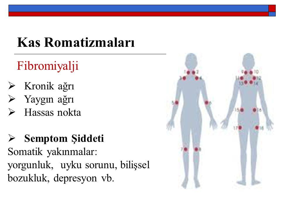 Kas Romatizmaları Fibromiyalji  Kronik ağrı  Yaygın ağrı  Hassas nokta  Semptom Şiddeti Somatik yakınmalar: yorgunluk, uyku sorunu, bilişsel bozukluk, depresyon vb.