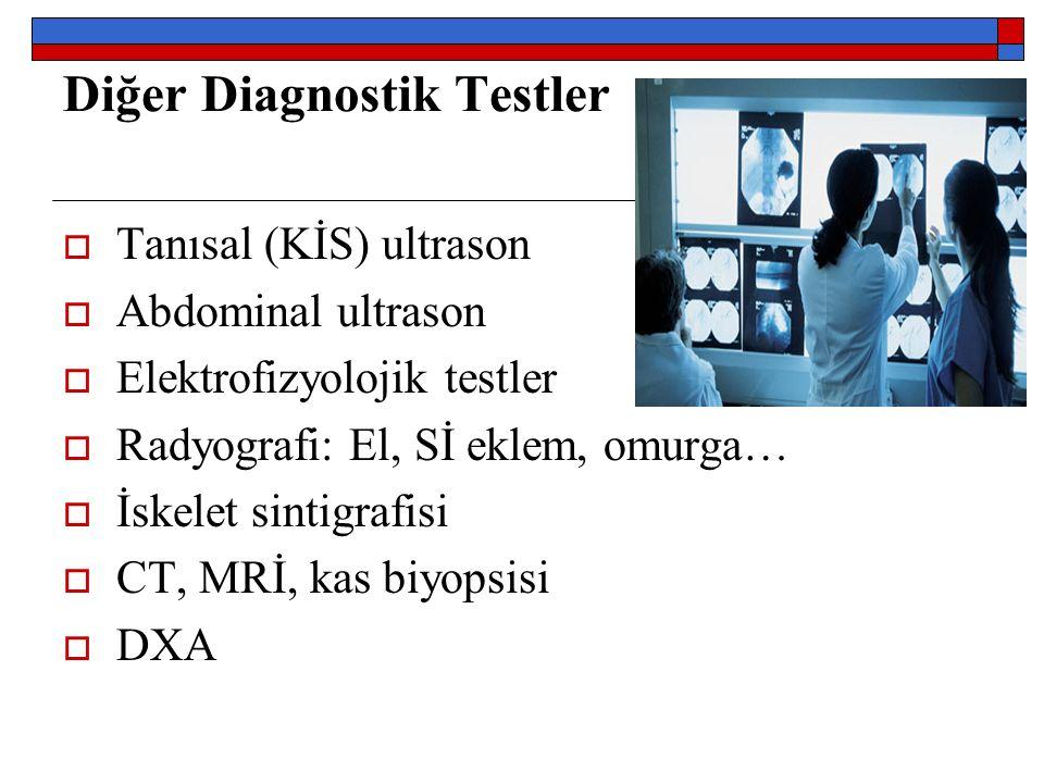 Diğer Diagnostik Testler  Tanısal (KİS) ultrason  Abdominal ultrason  Elektrofizyolojik testler  Radyografi: El, Sİ eklem, omurga…  İskelet sintigrafisi  CT, MRİ, kas biyopsisi  DXA