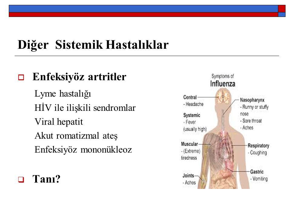 Diğer Sistemik Hastalıklar  Enfeksiyöz artritler Lyme hastalığı HİV ile ilişkili sendromlar Viral hepatit Akut romatizmal ateş Enfeksiyöz mononükleoz  Tanı?
