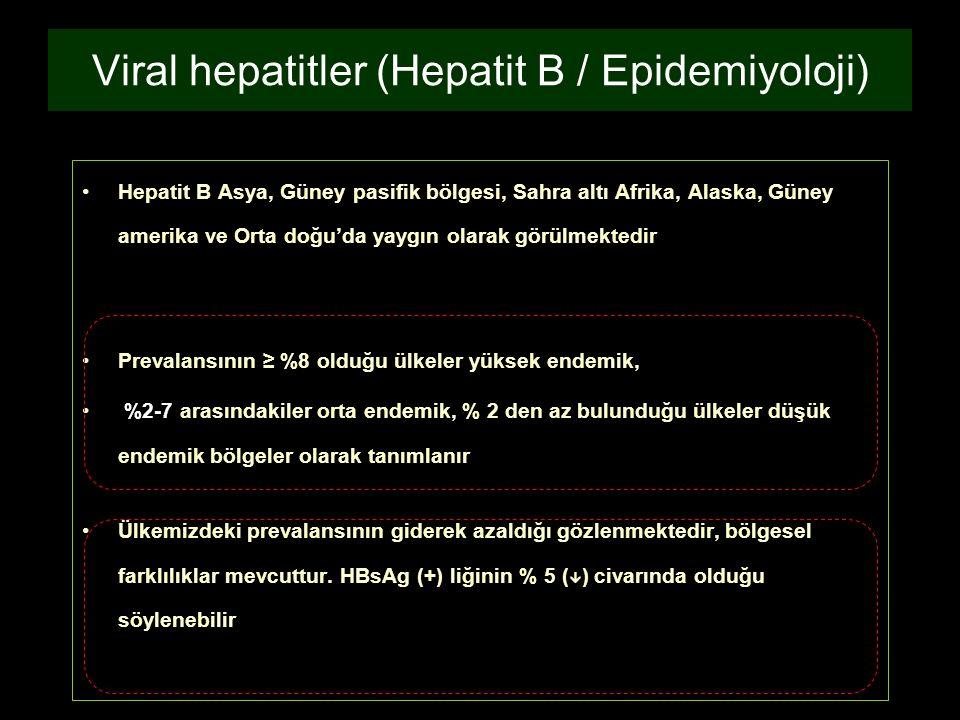 Hepatit B Asya, Güney pasifik bölgesi, Sahra altı Afrika, Alaska, Güney amerika ve Orta doğu'da yaygın olarak görülmektedir Prevalansının ≥ %8 olduğu
