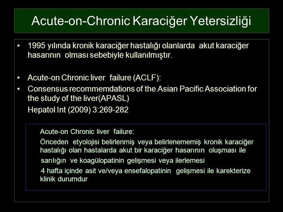 Acute-on-Chronic Karaciğer Yetersizliği 1995 yılında kronik karaciğer hastalığı olanlarda akut karaciğer hasarının olması sebebiyle kullanılmıştır. Ac