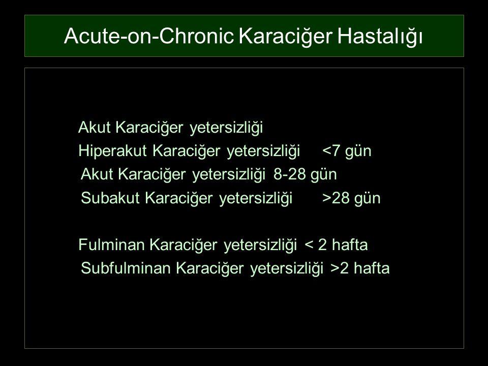 Acute-on-Chronic Karaciğer Hastalığı Akut Karaciğer yetersizliği Hiperakut Karaciğer yetersizliği <7 gün Akut Karaciğer yetersizliği 8-28 gün Subakut