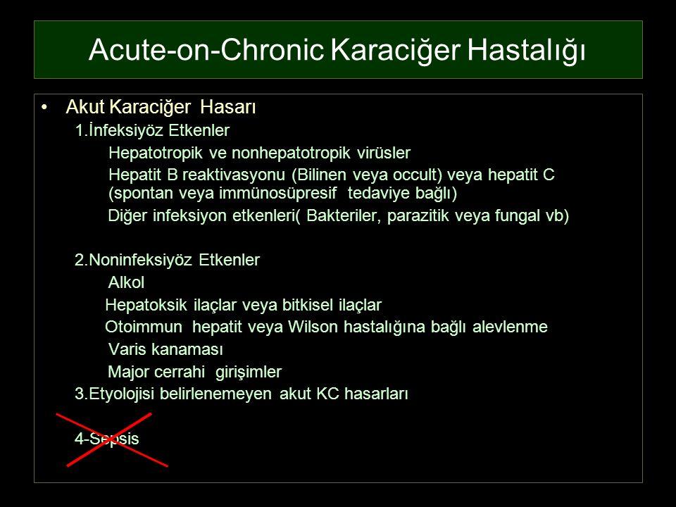 Acute-on-Chronic Karaciğer Hastalığı Akut Karaciğer Hasarı 1.İnfeksiyöz Etkenler Hepatotropik ve nonhepatotropik virüsler Hepatit B reaktivasyonu (Bil