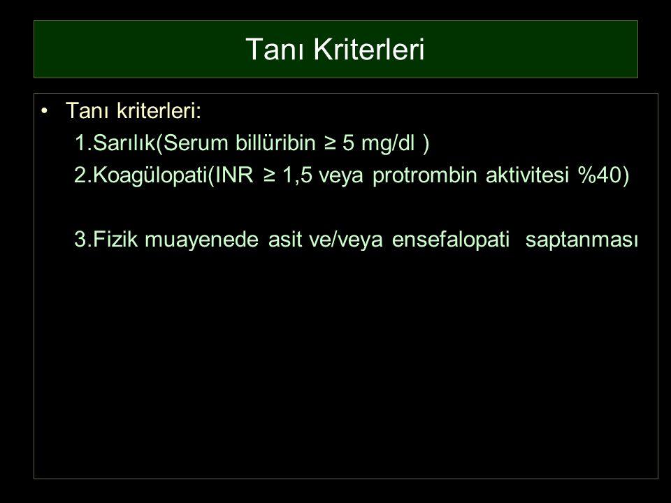 Tanı Kriterleri Tanı kriterleri: 1.Sarılık(Serum billüribin ≥ 5 mg/dl ) 2.Koagülopati(INR ≥ 1,5 veya protrombin aktivitesi %40) 3.Fizik muayenede asit