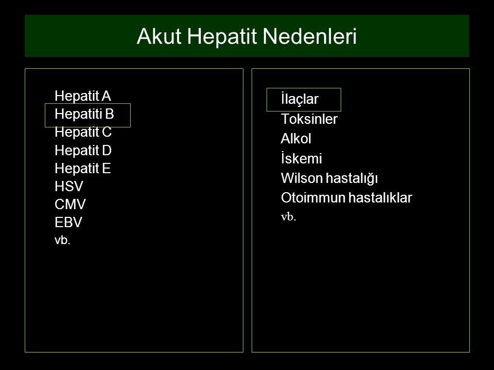 Akut Hepatit Nedenleri Hepatit A Hepatiti B Hepatit C Hepatit D Hepatit E HSV CMV EBV vb. İlaçlar Toksinler Alkol İskemi Wilson hastalığı Otoimmun has