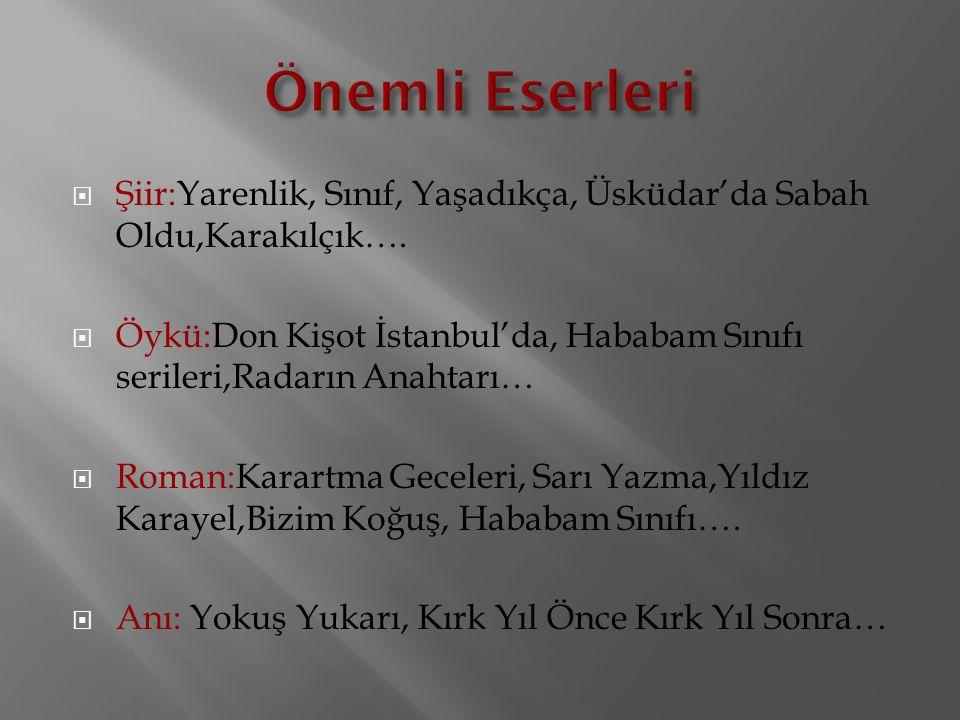  Şiir:Yarenlik, Sınıf, Yaşadıkça, Üsküdar'da Sabah Oldu,Karakılçık….  Öykü:Don Kişot İstanbul'da, Hababam Sınıfı serileri,Radarın Anahtarı…  Roman:
