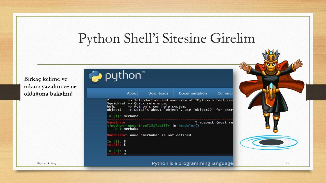 Python Shell'i Sitesine Girelim Birkaç kelime ve rakam yazalım ve ne olduğuna bakalım.
