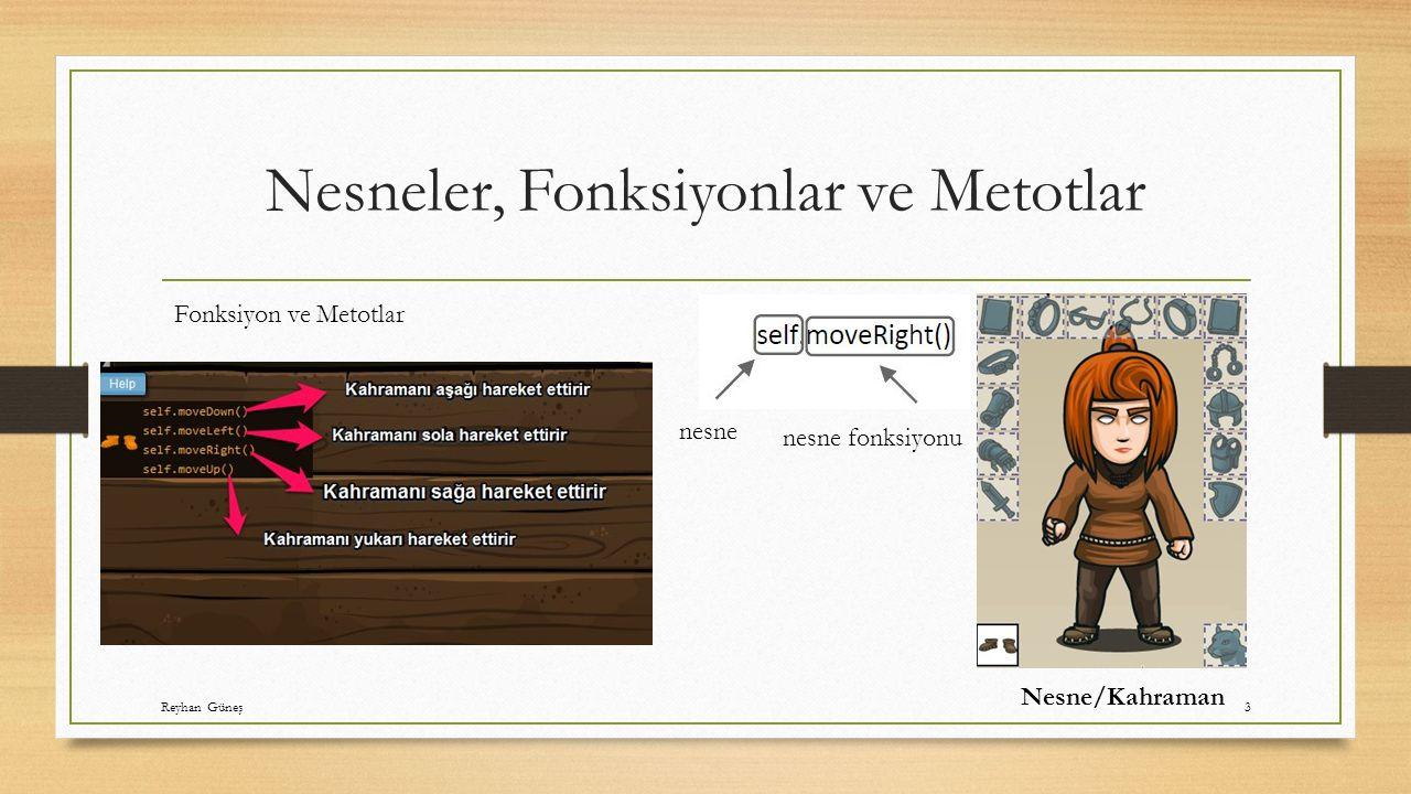 Nesneler, Fonksiyonlar ve Metotlar nesne nesne fonksiyonu Nesne/Kahraman Fonksiyon ve Metotlar Reyhan Güneş3