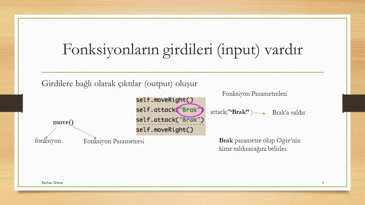 Fonksiyonların girdileri (input) vardır Girdilere bağlı olarak çıktılar (output) oluşur move() fonksiyon Fonksiyon Parametresi Fonksiyon Parametreleri attack( 'Brak'' ) Brak'a saldır Brak parametre olup Ogre'nin kime saldıracağını belirler.