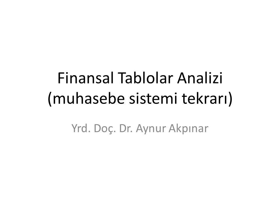 Finansal Tablolar Analizi (muhasebe sistemi tekrarı) Yrd. Doç. Dr. Aynur Akpınar