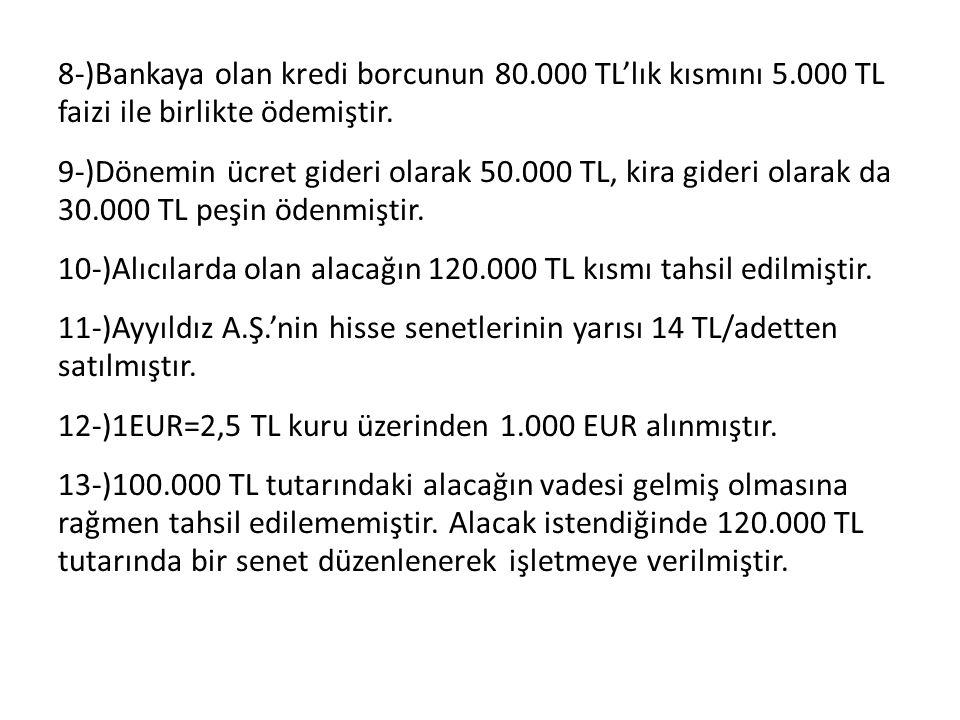 8-)Bankaya olan kredi borcunun 80.000 TL'lık kısmını 5.000 TL faizi ile birlikte ödemiştir. 9-)Dönemin ücret gideri olarak 50.000 TL, kira gideri olar