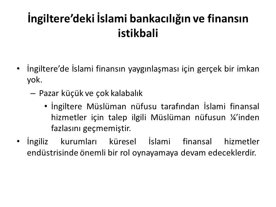 İngiltere'deki İslami bankacılığın ve finansın istikbali İngiltere'de İslami finansın yaygınlaşması için gerçek bir imkan yok. – Pazar küçük ve çok ka