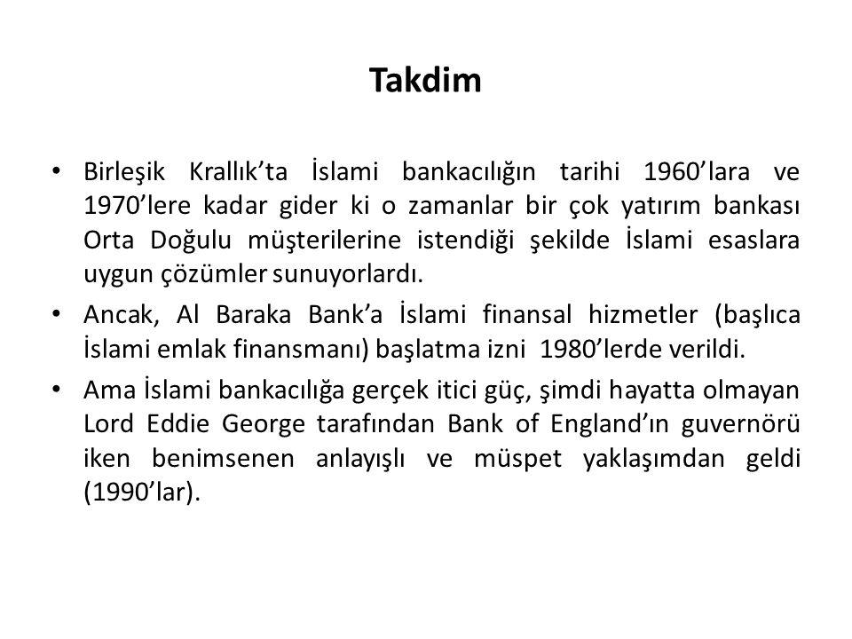 Takdim Birleşik Krallık'ta İslami bankacılığın tarihi 1960'lara ve 1970'lere kadar gider ki o zamanlar bir çok yatırım bankası Orta Doğulu müşterilerine istendiği şekilde İslami esaslara uygun çözümler sunuyorlardı.