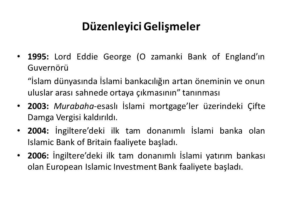 Düzenleyici Gelişmeler 1995: Lord Eddie George (O zamanki Bank of England'ın Guvernörü İslam dünyasında İslami bankacılığın artan öneminin ve onun uluslar arası sahnede ortaya çıkmasının tanınması 2003: Murabaha-esaslı İslami mortgage'ler üzerindeki Çifte Damga Vergisi kaldırıldı.