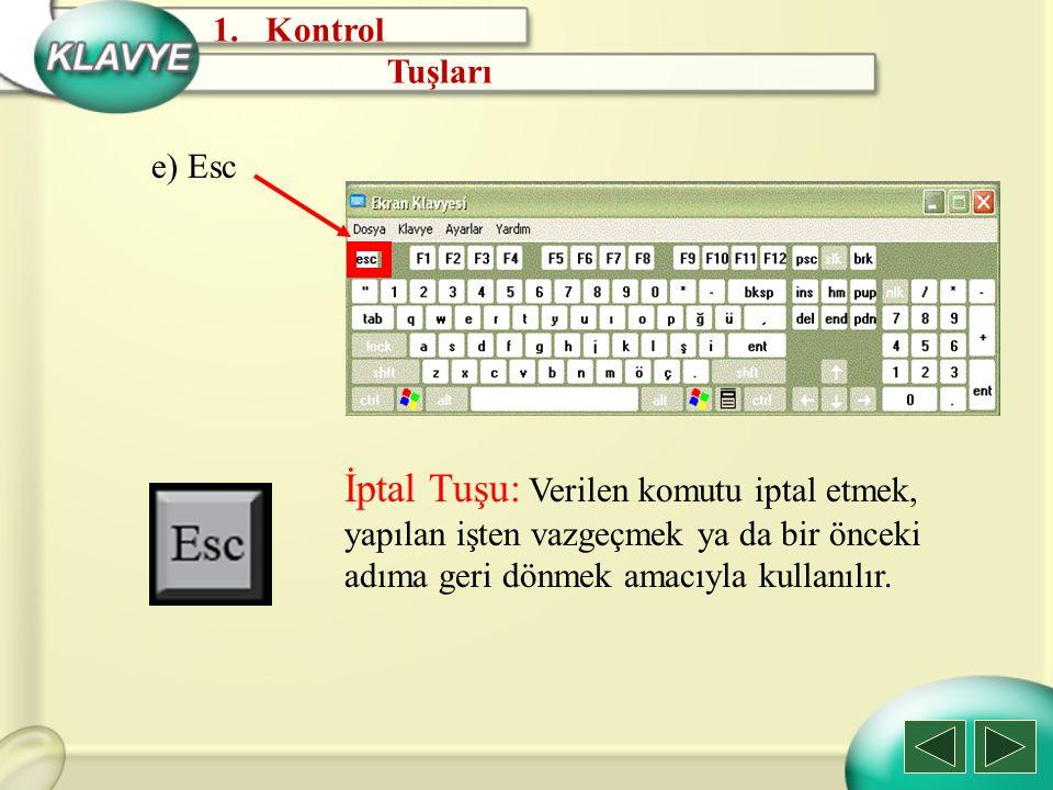 e) Esc İptal Tuşu: Verilen komutu iptal etmek, yapılan işten vazgeçmek ya da bir önceki adıma geri dönmek amacıyla kullanılır. 1.Kontrol Tuşları