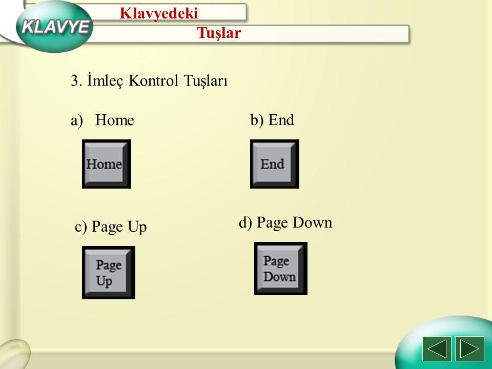 3. İmleç Kontrol Tuşları a)Home b) End c) Page Up d) Page Down Klavyedeki Tuşlar