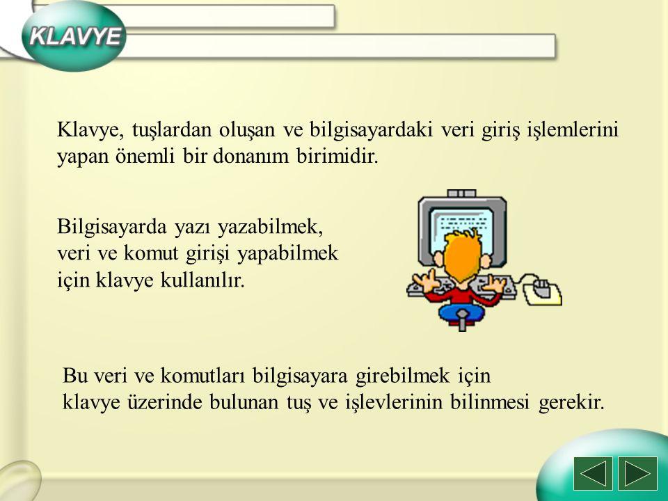 h) Print Screen Ekranı Yazdır Tuşu: Print Screen tuşuna basıldığında o andaki ekran görüntüsünü resim olarak belleğe alır.